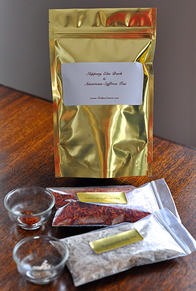 Slippery Elm Bark and American Saffron Tea